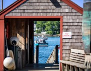 View through the Rockport Harbor boat house.